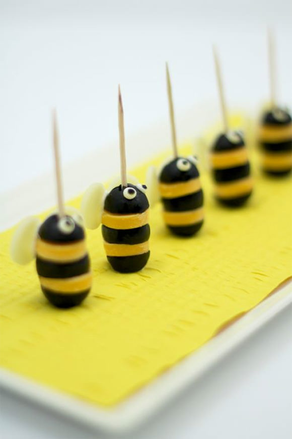 Olive & Cheese Bumblebees (fun snacks for kids)
