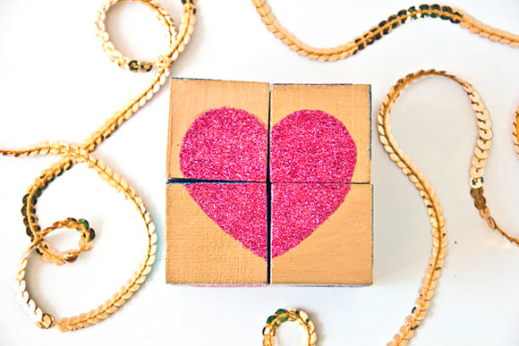 DIY Glittery Valentine's Day Block Puzzle