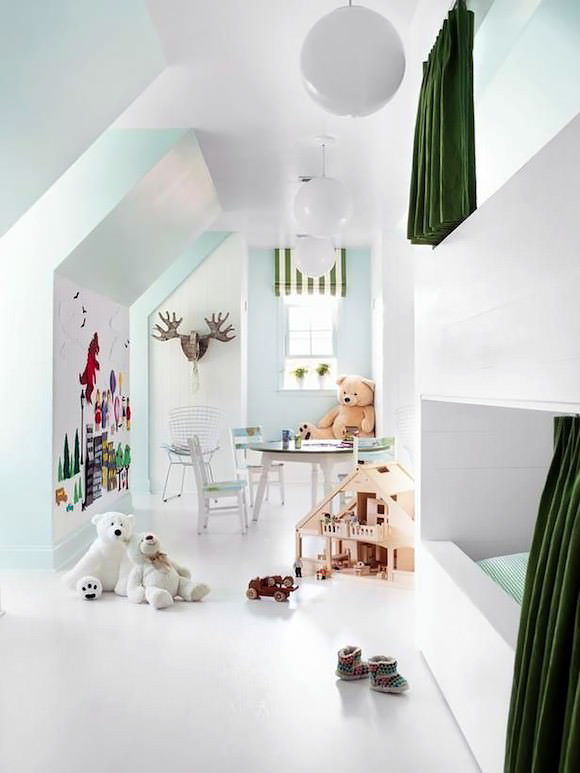 Attic Bunk Room / Playroom for Kids