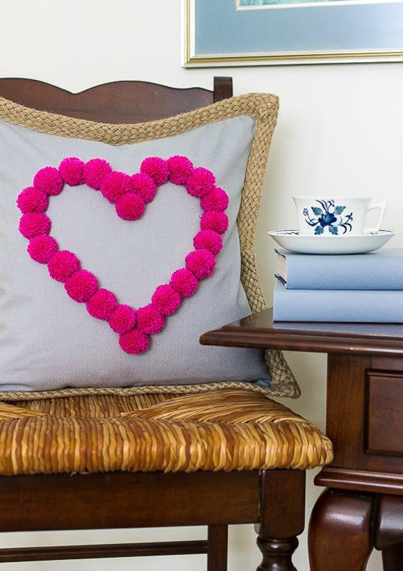 DIY Heart Pom-Pom Pillow