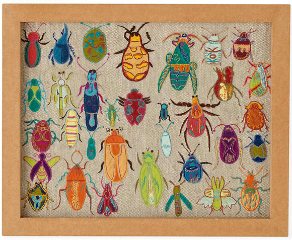 Art for Kids' Rooms:  Natural History Framed Embroidered Bugs (via The Land of Nod)