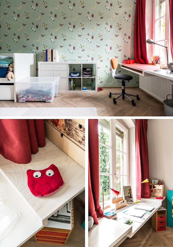 Built-In Desk Space for Kids (fit in space above radiator where furniture wasn't an option)