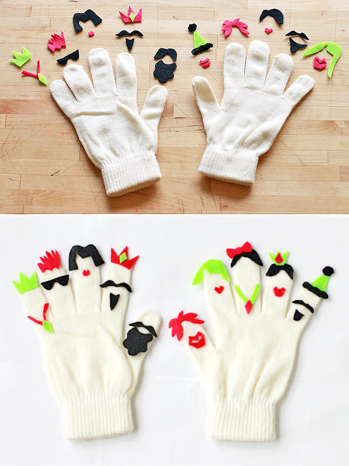 DIY Fantastic Finger People Gloves for Kids