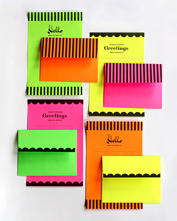 Printable Neon Stationery Set
