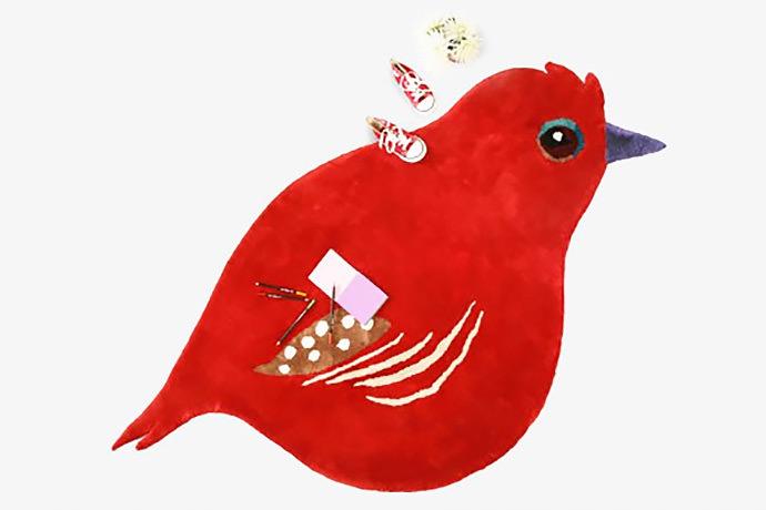 Handmade Cardinal Bird Rug by Little Caber