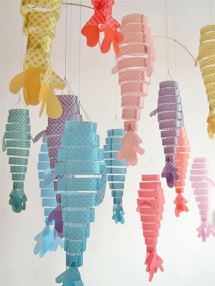 lovely paper fish mobiles by french designer dame belette