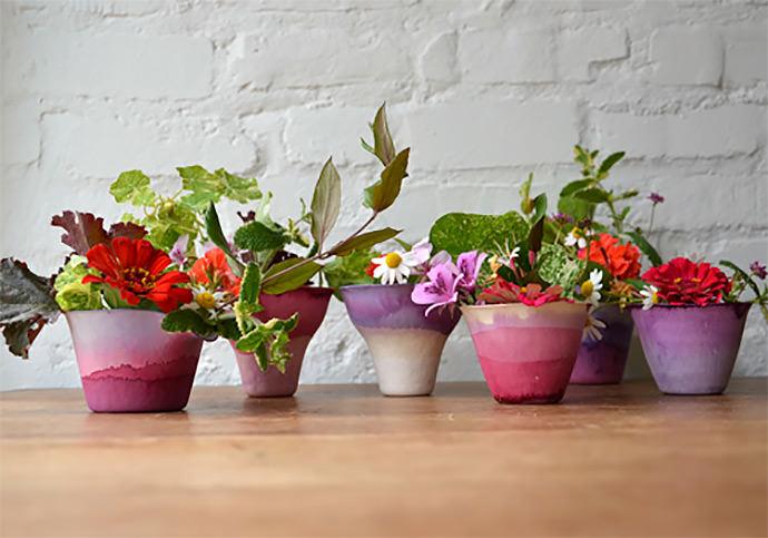 Dip-Dye Paper Cup Vases
