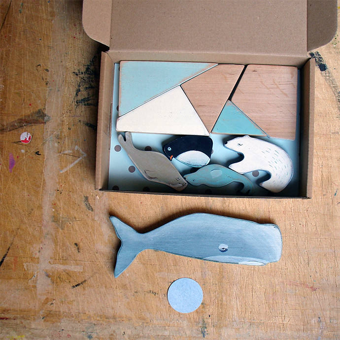 Wooden Sea Creature Play Set from JouJou