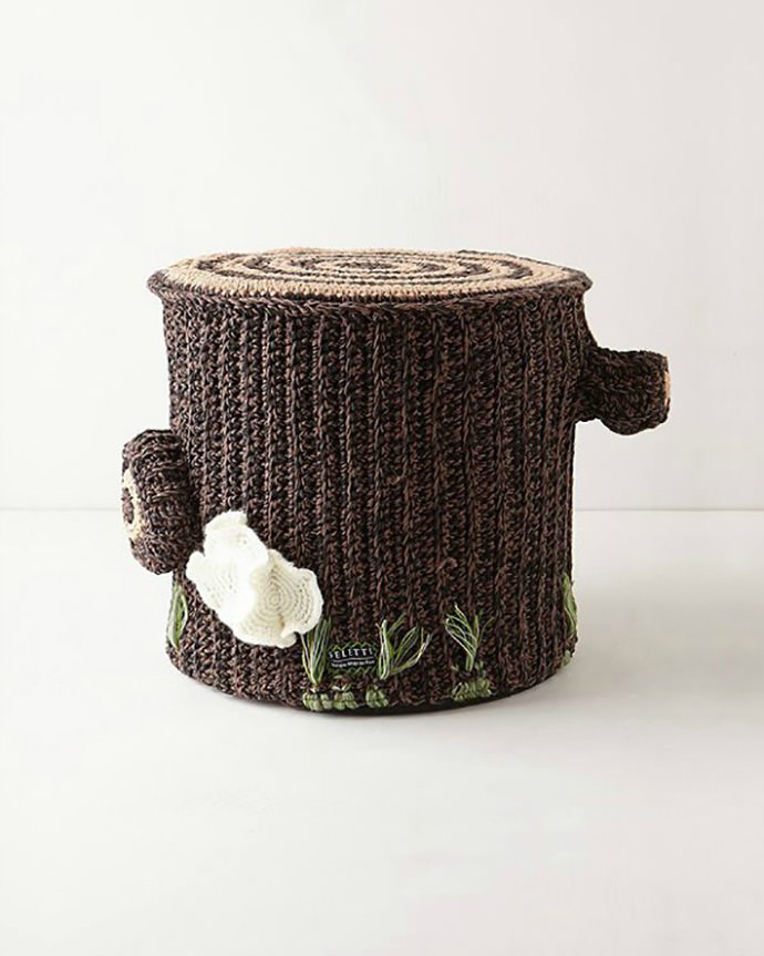 Crocheted Tree Stump Pouf by Miga de Pan and Seletti