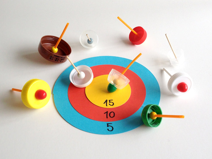 DIY Recycled Spinning Top Game Boards