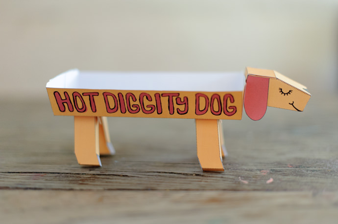 Printable  Hot Diggity Dog Hot Dog Holders