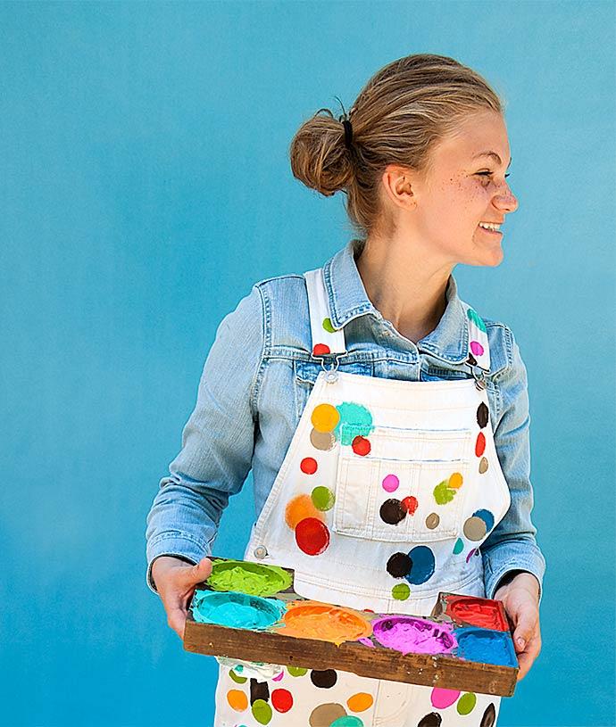 Plaid FolkArt Paint DIY Polka Dot Overalls