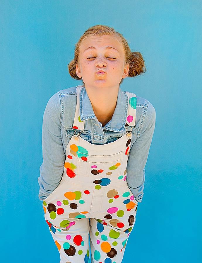DIY Polka Dot Overalls Kids Clothing Plaid FolkArt Paint