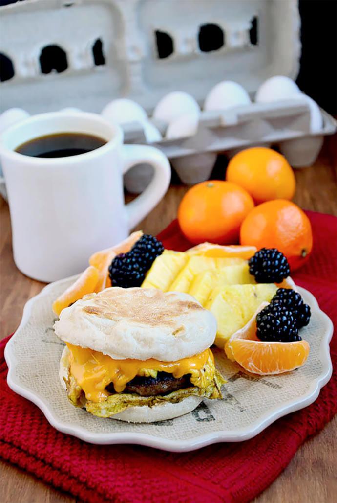 Copycat McDonalds Sausage, Egg and Cheese McMuffin Recipe (via Iowa Girl Eats)