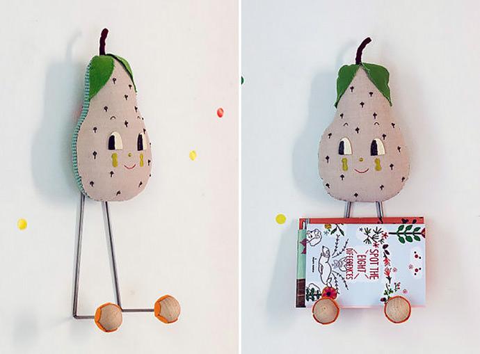 Big head happy pear wall rack from Misako Mimoko