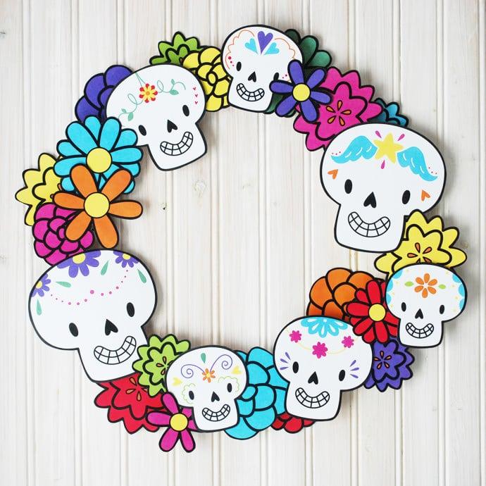 Printable Dia de los Muertos Wreath