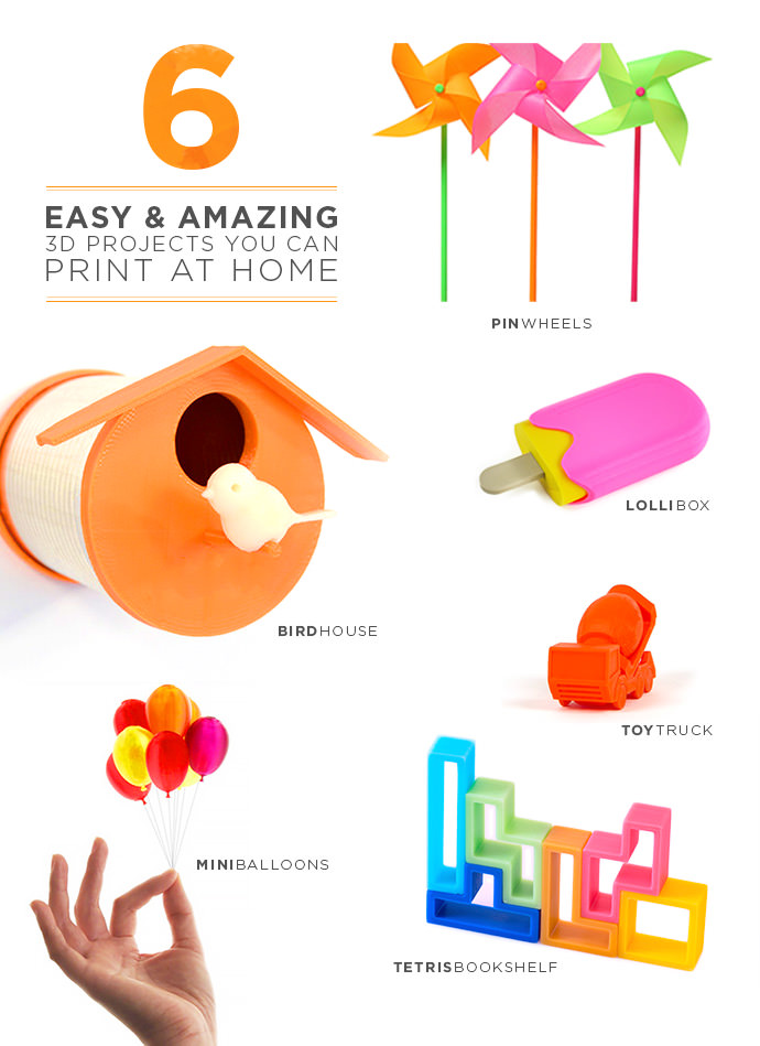 A colorful collection of fun 3D projects you can print from home