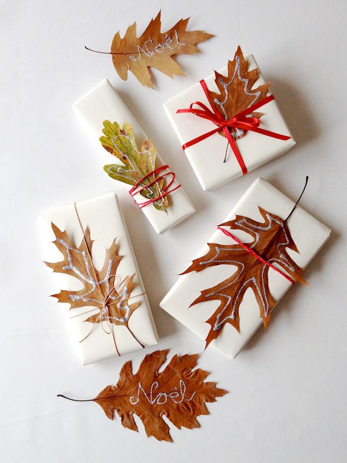 DIY Glitter Leaf Gift Wrap