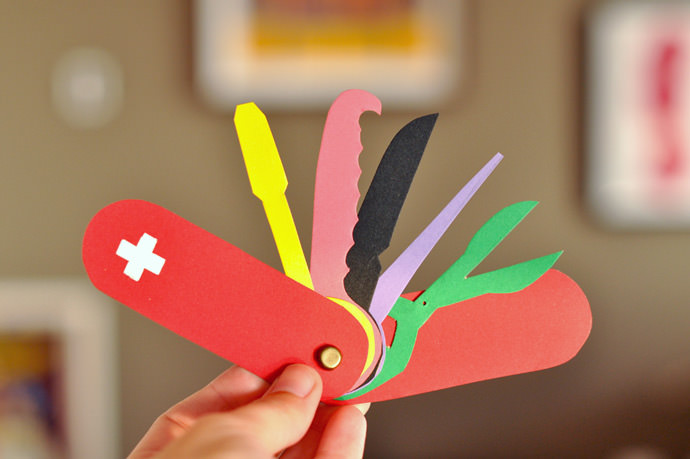 DIY Cardboard Swiss Army Pocket Knife for Kids