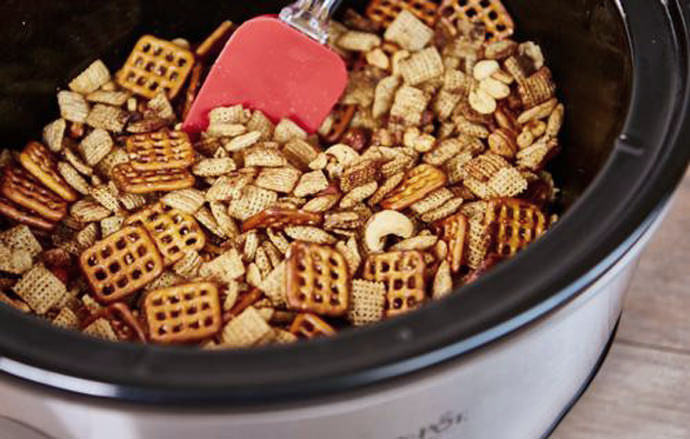 Quick and Easy Crock Pot Chex Mix Snack for On-the-Go