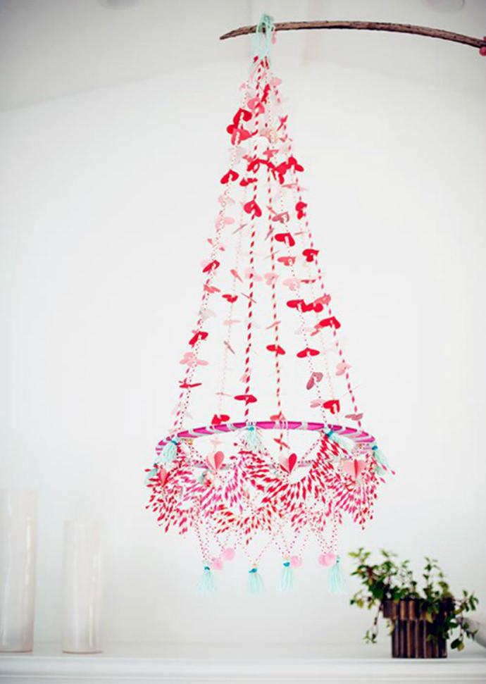 DIY Paper Straw Hanging Chandelier
