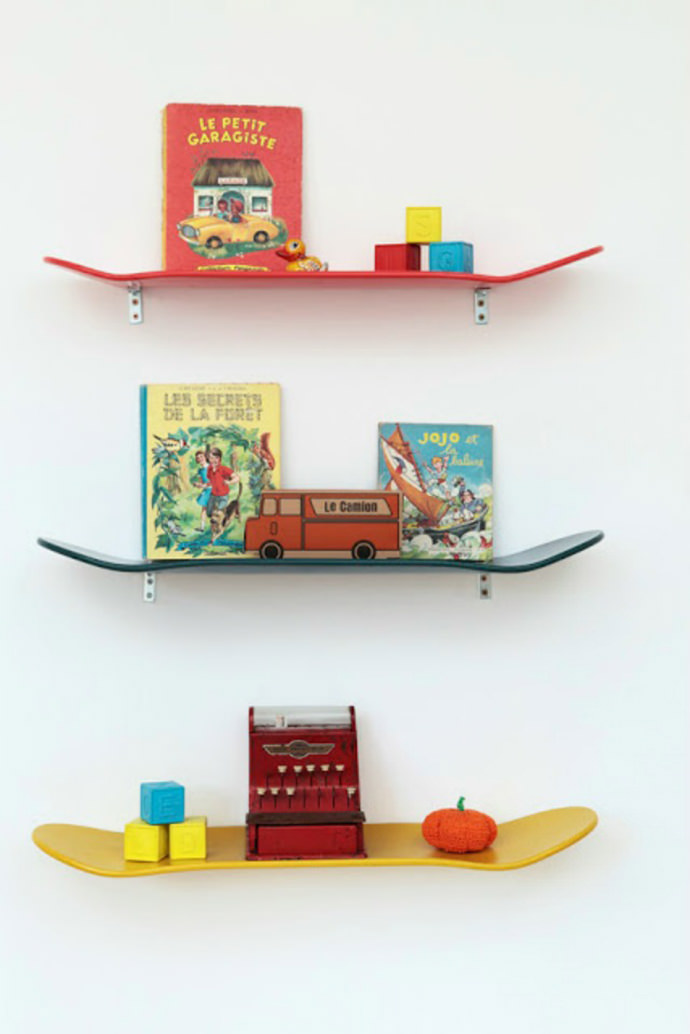 Handmade skateboard shelves
