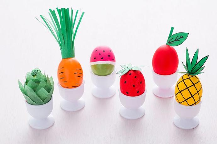 Fruits and Veggies Easter Eggs via Brit + Co.