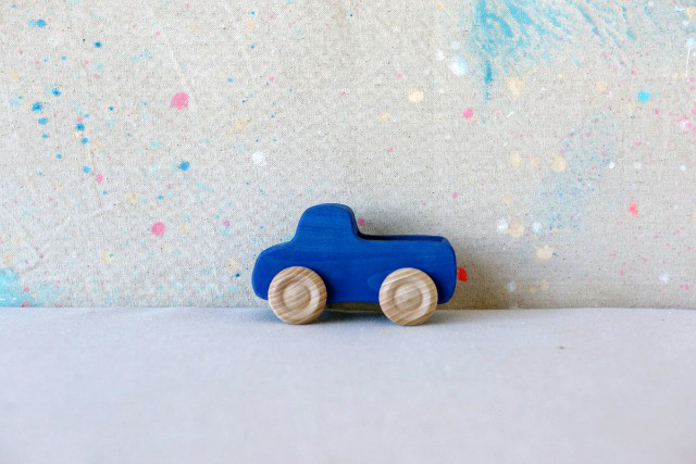 Blue wooden truck toy