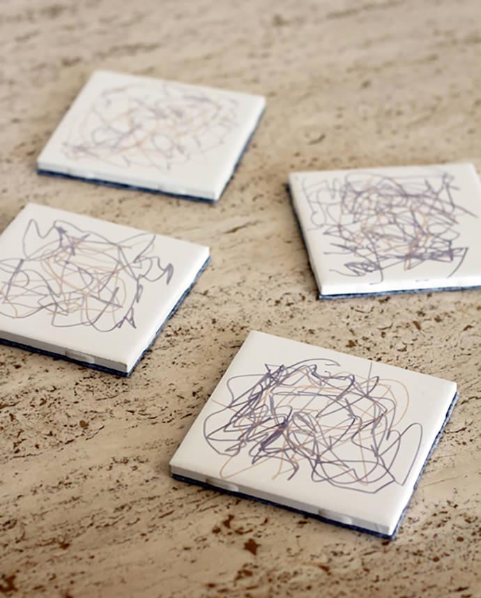 DIY Scribble Art Coasters