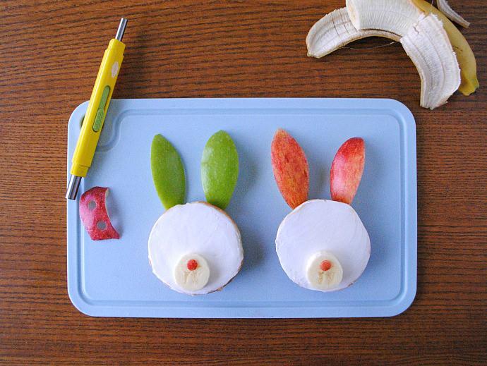 Easy Breakfast Bunny Bagels Step 3