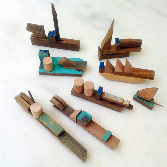 Natural Wood Toy Boats