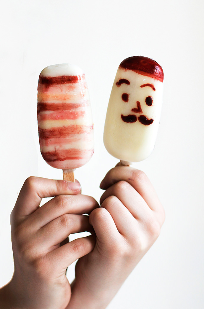 Funny Faced Painted Coconut Popsicles