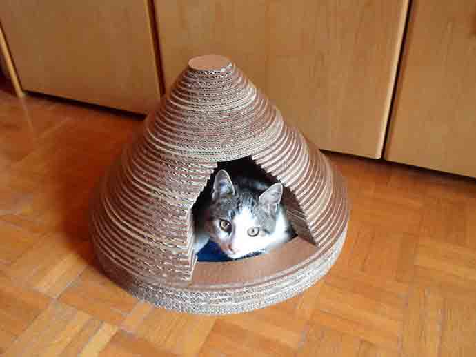 DIY Upcycled Cardboard Cat House