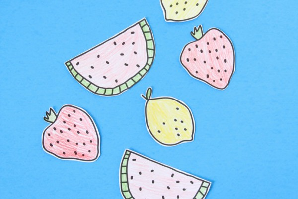 Printable DIY Coloring Fruit Stickers