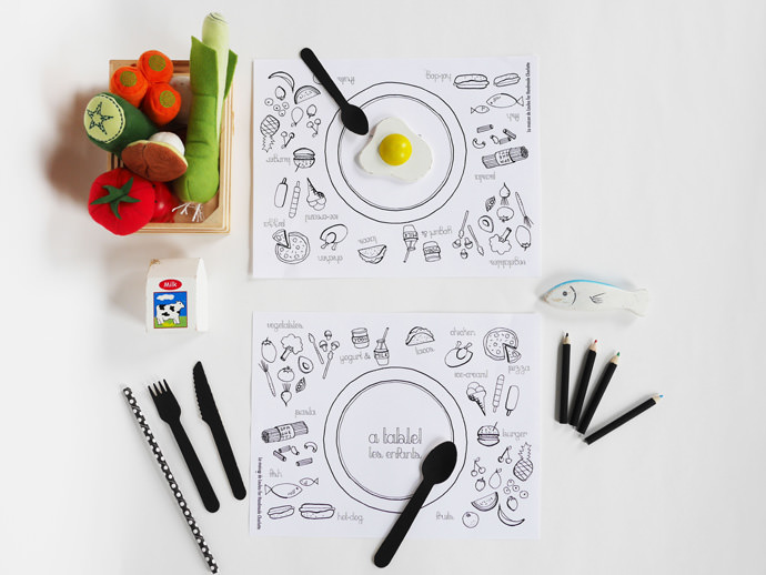 DIY Coloring Printable Placemats for Kids