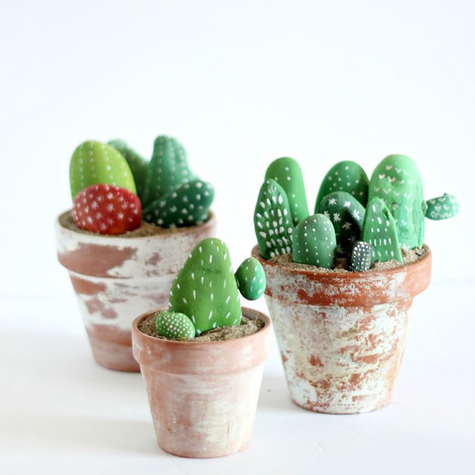 Painted Cactus DIY Rock Arrangement For Kids