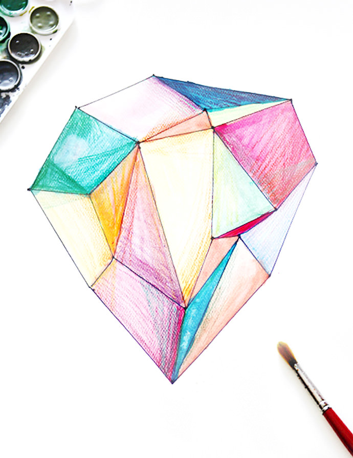 DIY Watercolor Gem Paintings via Small for Big
