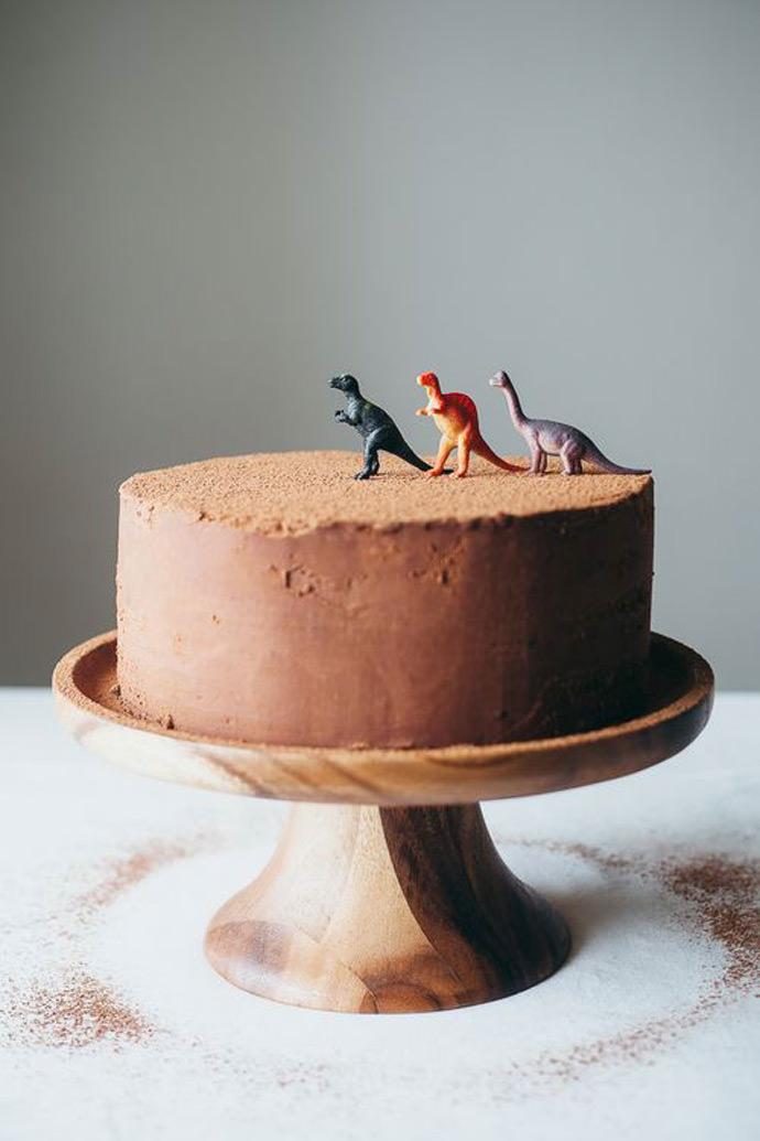 Italian Rainbow Cookie Cake Recipe with Dinosaur Cake Toppers
