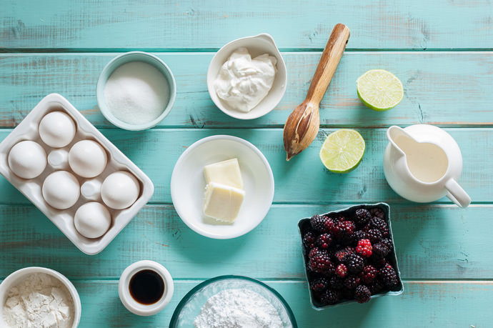Ingredients for Blackberry Lime Clafoutis