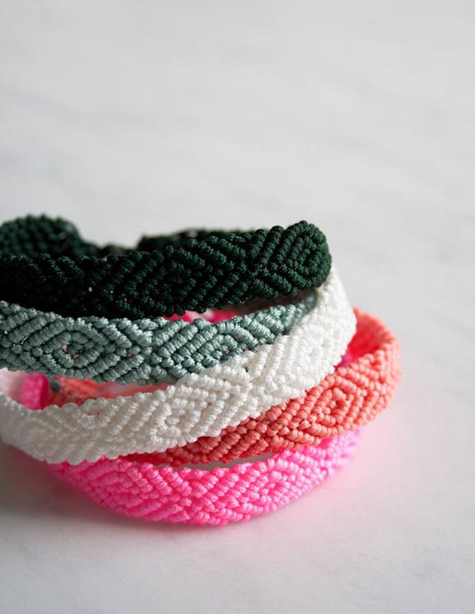 DIY Monochrome Friendship Bracelets via Purl Bee