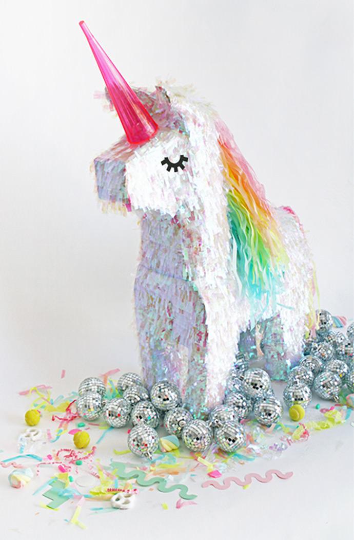 Unicorn Piñata Makeover via Oh Happy Day