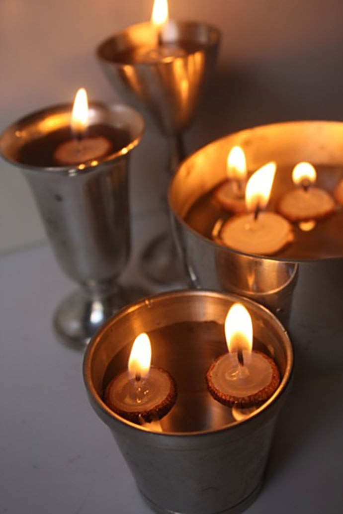 DIY Acorn Cap Candles