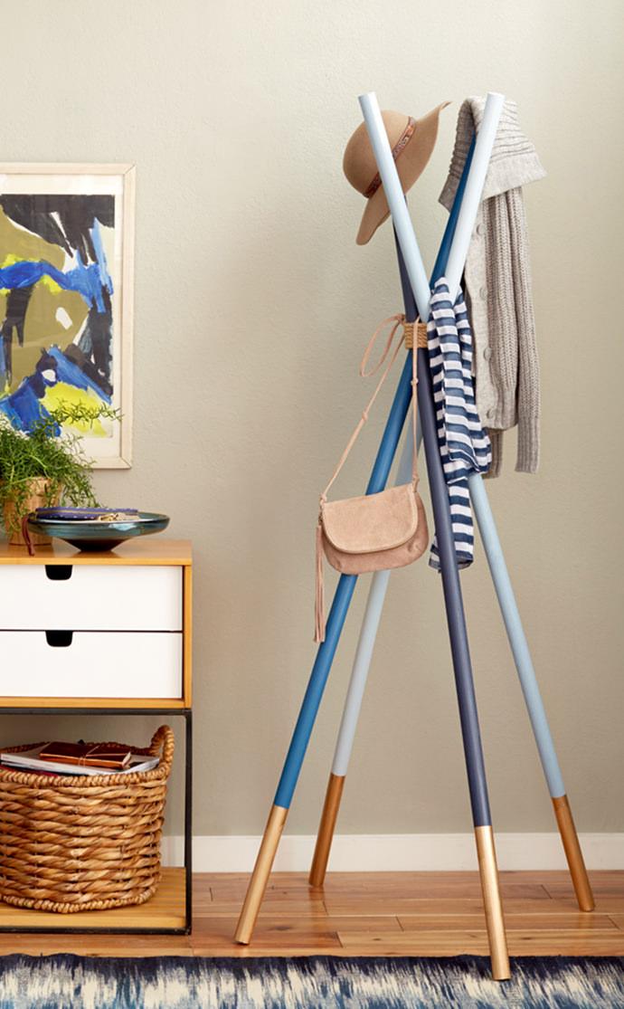 DIY Dowels + Rope Coatrack via Emily Henderson