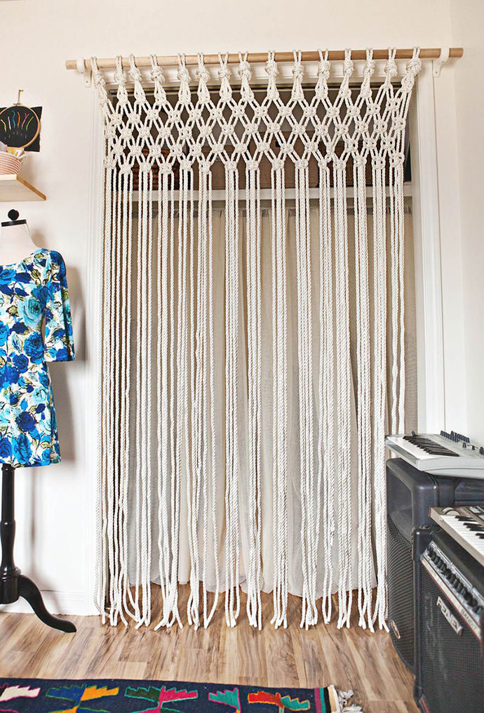 DIY Macrame Curtain via A Beautiful Mess