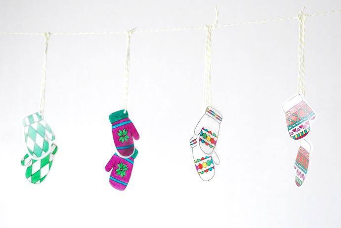 DIY Shrinky-Dink Mitten Garland for Kids