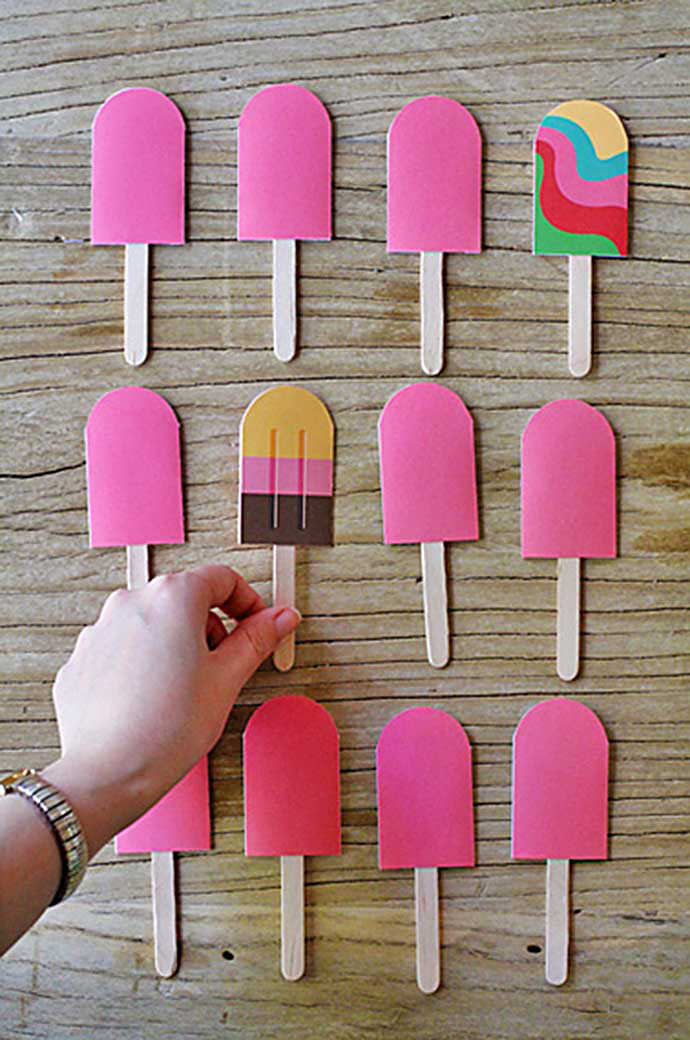 Popsicle Memory Game, tutorial via Eat Drink Chic