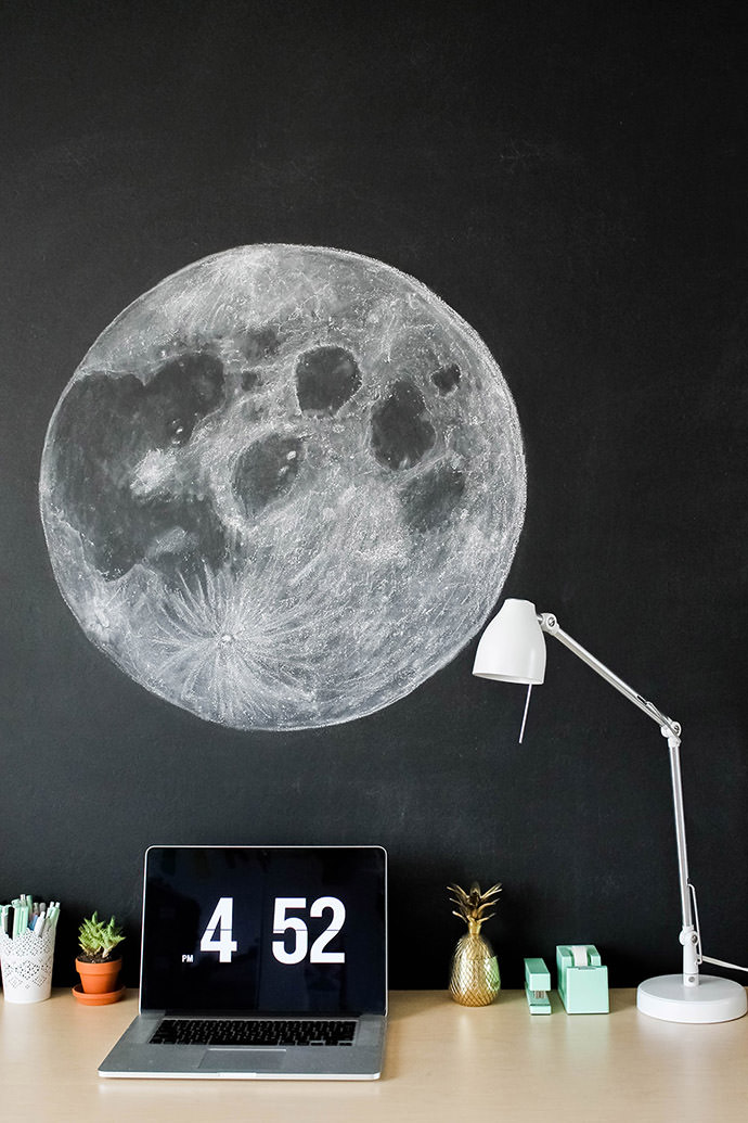 DIY Moon Chalkboard Art, tutorial via Clever + Dot