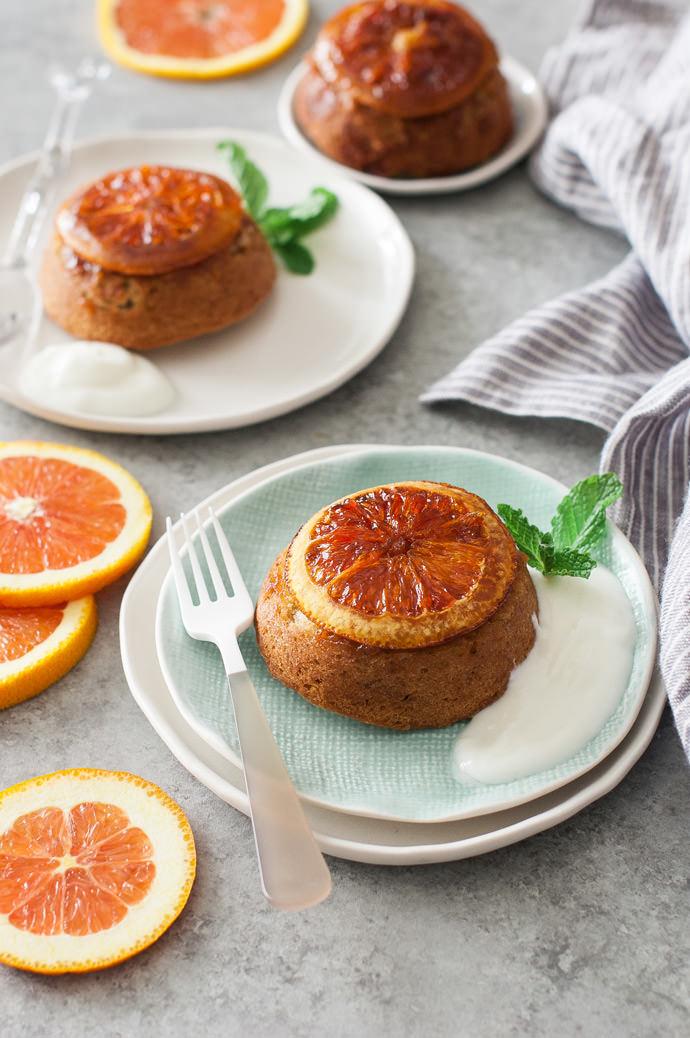 Orange Upside Down Olive Oil Cakes