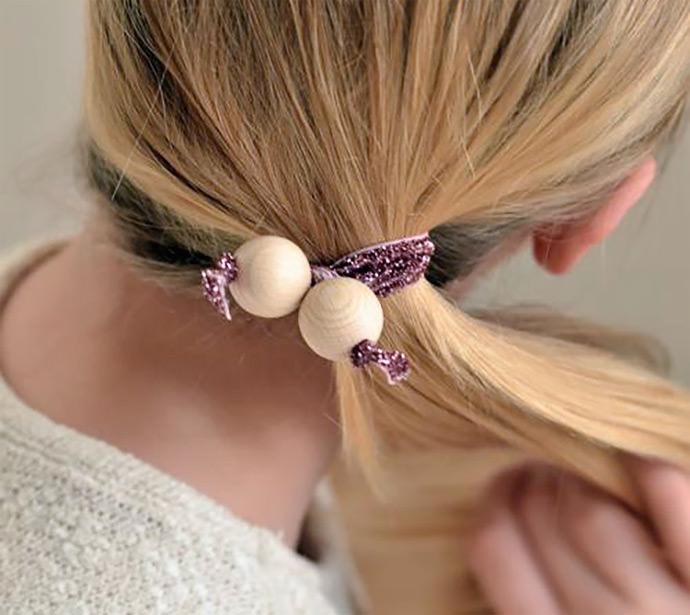 DIY Wood Bead Hair Twists, tutorial via Design Mom