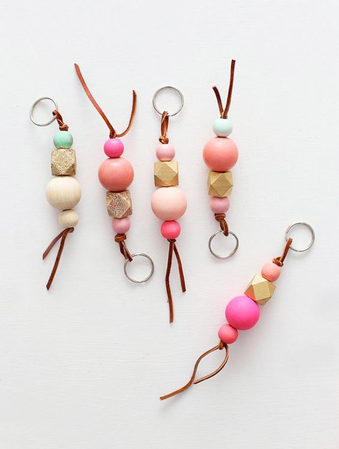 DIY Wooden Bead Keychains